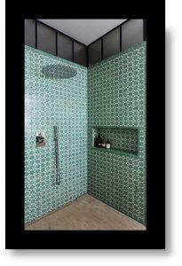 greenery trend bold pattern bathroom shalini misra
