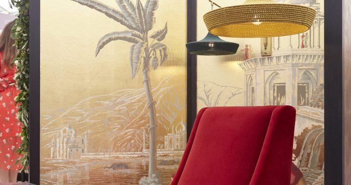 Shalini Misra Decorex Champagne Bar Armchair & Light