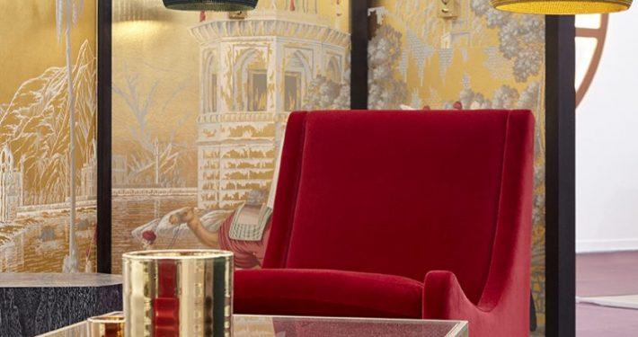 Shalini Misra Decorex Champagne Bar Table and Armchair