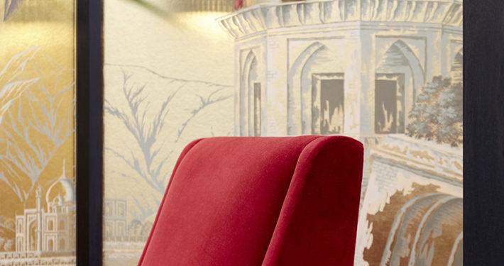 Shalini Misra Decorex Champagne Red Armchair & Pendant Light