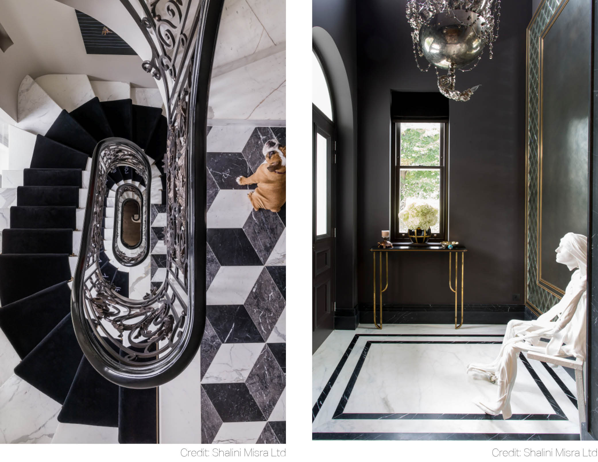 mirror geometric precision of marble floor tiles softened voluptuous curves spiral staircase