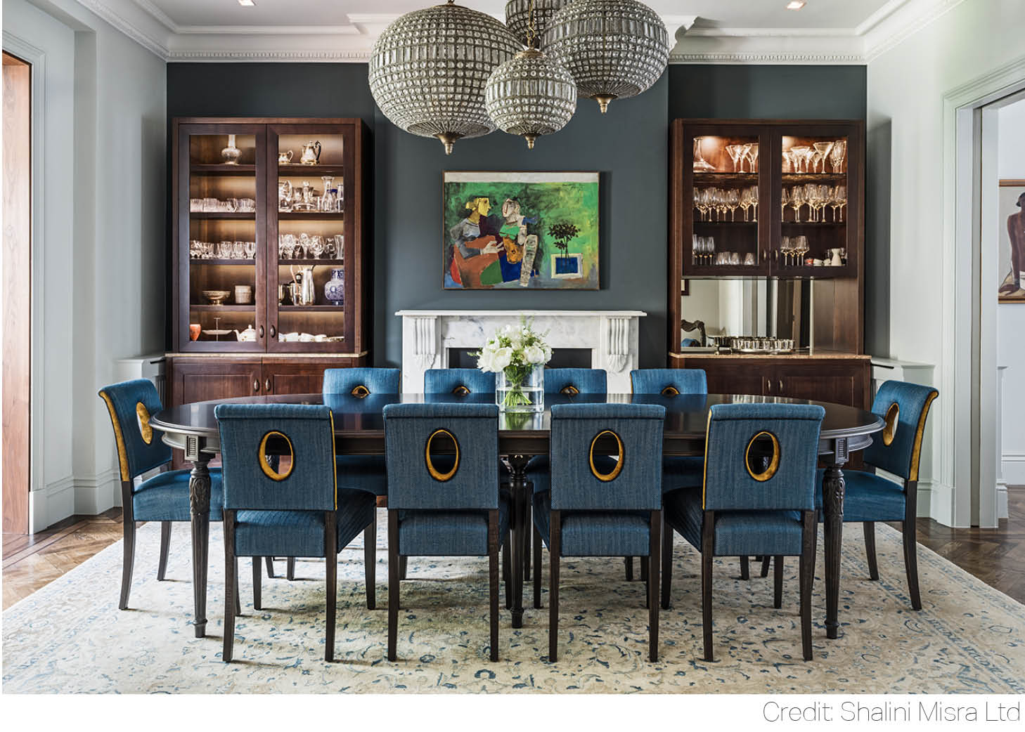 hampstead place interior dining room midnight blue elegant table