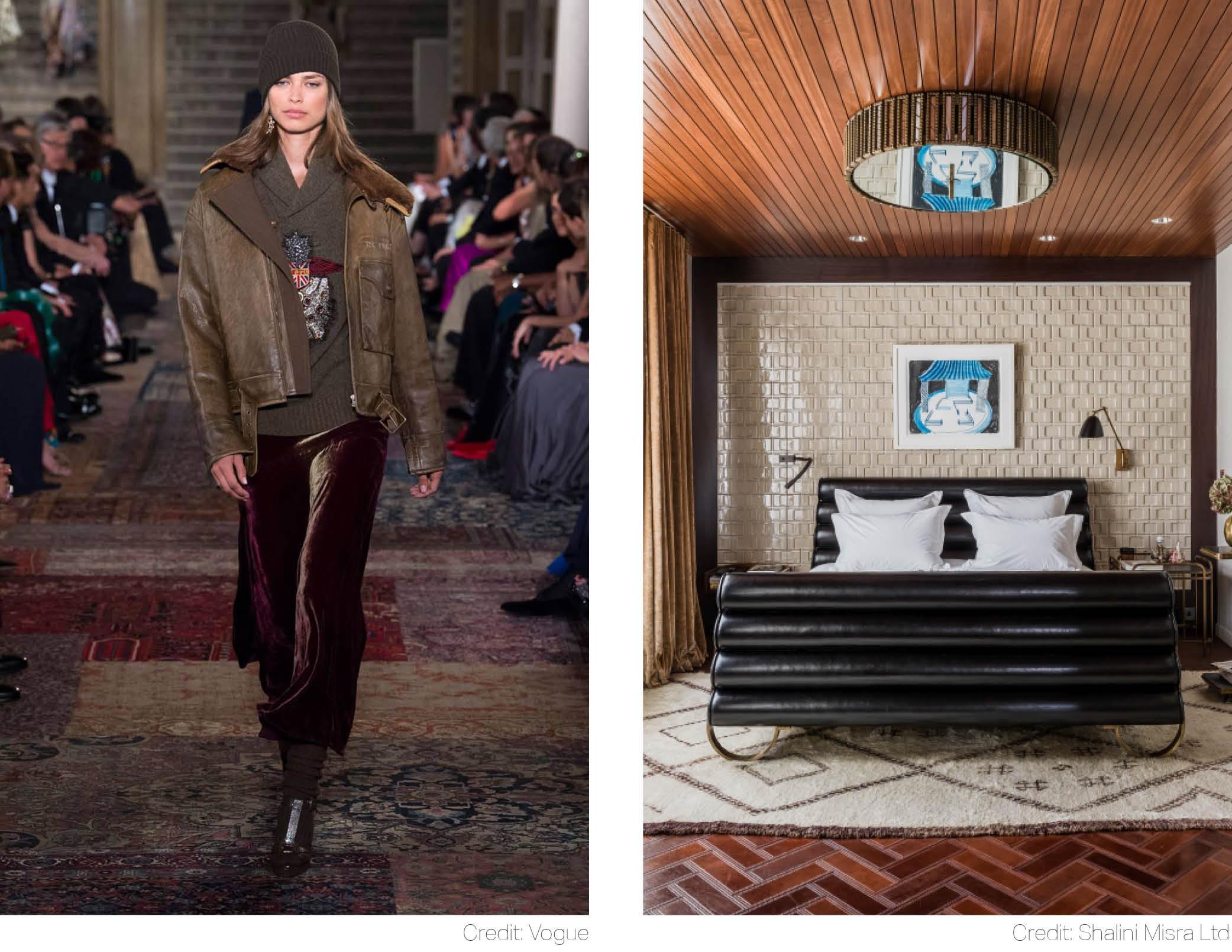 ralph lauren emerald sapphire velvet upholstery leather finishes tattered persian rug