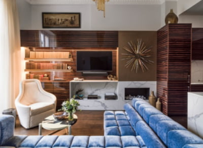 living room blue sofa in eaton place