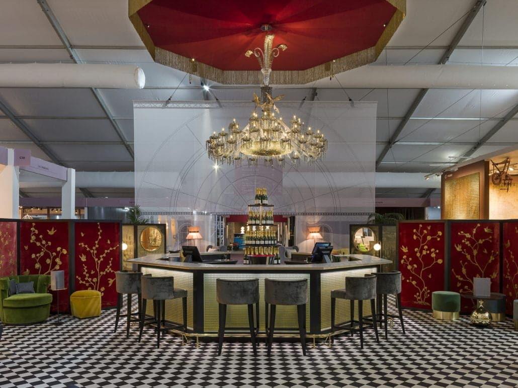 decorex champagne bar design chandelier