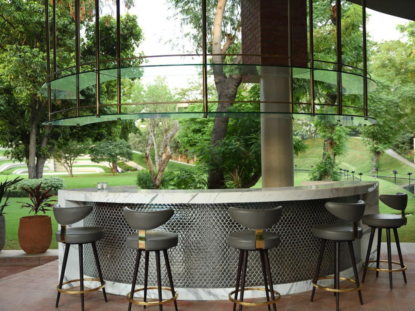 delhi family retreat farm house design bar area