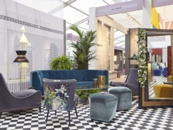 decorex champagne bar design purple armchairs & settee