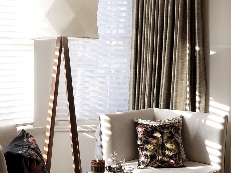 sofa and floor lamp