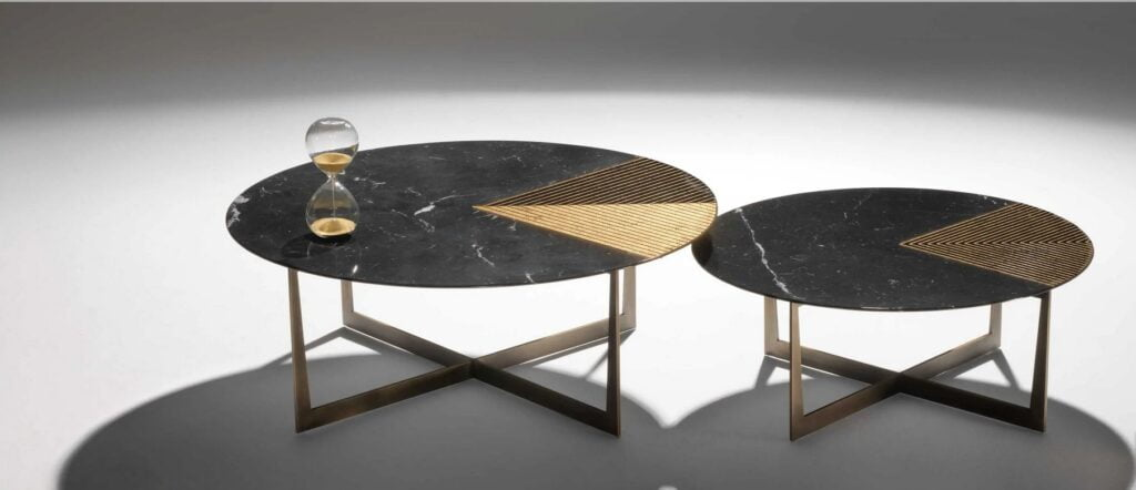 Gold Radius Marble Coffee Table by Alex Mint